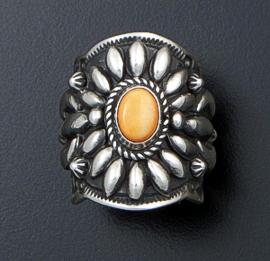 Darryl Becenti (Navajo) - Ornate Orange Spiny Oyster Shell & Sterling Silver Scalloped Edge Ring #42090 Size 6.5 $295.00