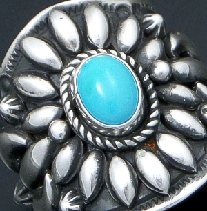 Darryl Becenti (Navajo) - Ornate Sleeping Beauty Turquoise & Sterling Silver Scalloped Edge Ring #42091 Size 8.5 $295.00