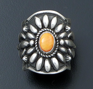 Darryl Becenti (Navajo) - Ornate Orange Spiny Oyster Shell & Sterling Silver Scalloped Edge Ring #42092 Size 7.5 $295.00