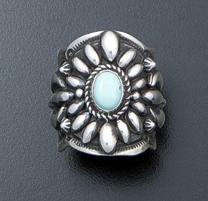 Darryl Becenti (Navajo) - Ornate Dry Creek Turquoise & Sterling Silver Scalloped Edge Ring #42094 Size 8 $295.00