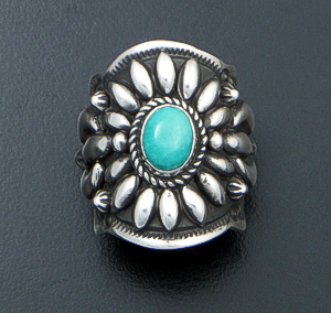 Darryl Becenti (Navajo) - Ornate Kingman Turquoise & Sterling Silver Scalloped Edge Ring #42095 Size 7 $295.00