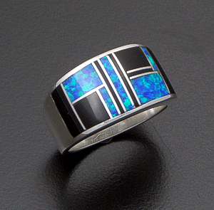 Supersmith Inc. - David Rosales Designs (Navajo) - Black Beauty Inlay & Sterling Silver Wide Square Ring #42365 Style R132 $235.00