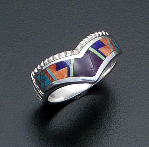 Supersmith Inc. - David Rosales Designs (Navajo) - Indian Summer Fancy Inlay & Sterling Silver Beaded Chevron Ring #42371 Style R225F $255.00