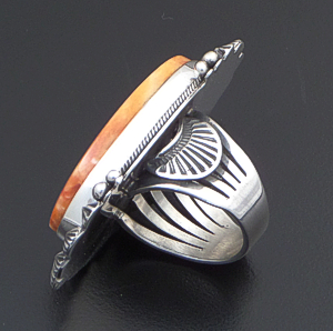 Aaron Toadlena (Navajo) - Large Decorative Oval Orange Spiny Oyster Shell & Sterling Silver Ring #42385 Size 7.5 $440.00