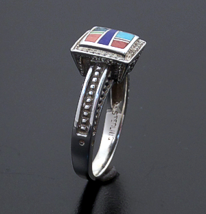Supersmith Inc. - David Rosales Designs (Navajo) - Indian Summer Inlay & Sterling Silver Beaded Square Ring #42605 R285 $125.00