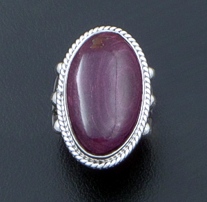Navajo - Oval Purple Spiny Oyster Shell & Sterling Silver Ring #42689A Size 6 $80.00