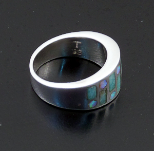 Supersmith Inc. - David Rosales Designs (Navajo) - Amazing Light Inlay & Sterling Silver Code Talker Ring #42774 R153 $270.00