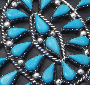 Veronica Martza (Zuni) - Turquoise & Sterling Silver Large Oval Cluster Ring #42816 Size 6.5 $175.00