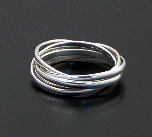 Zina - Five Band Rolling Rings Sterling Silver Ring #42863 $110.00