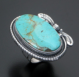 L.T. (Leonard) Chee (Navajo) - Manassa Turquoise & Sterling Silver Oval Double Feather Accented Ring #42940 Size 8 $270.00