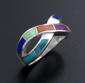 Supersmith Inc. - David Rosales Designs (Navajo) - Indian Summer Inlay & Sterling Silver Crossed Ribbon Ring #43380 R208 $180.00