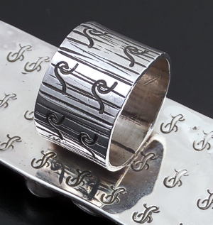 Alex Sanchez (Navajo) - Extra Large Coral & Sterling Silver Rectangular Petroglyph Style Ring #43424 Item 11 Size 7.5 $300.00