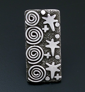 Alex Sanchez (Navajo) - Large Sterling Silver Rectangular Petroglyph Style Ring #43424 Item 14 Size 6.5 $195.00