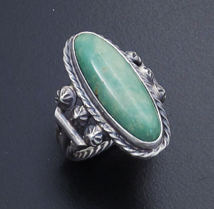 Navajo - Oval Green Turquoise & Satin Finished Sterling Silver Ring #43555 Size 5 $70.00