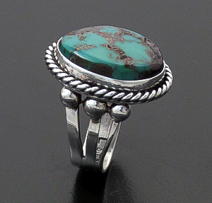 Linda Yazzie (Navajo) - Turquoise & Sterling Silver Beaded Split Band Ring #43660 Size 7 $100.00