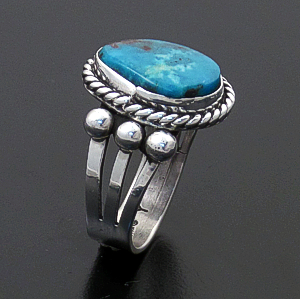 Linda Yazzie (Navajo) - Turquoise & Sterling Silver Beaded Split Band Ring #43661 Size 8.5 $100.00