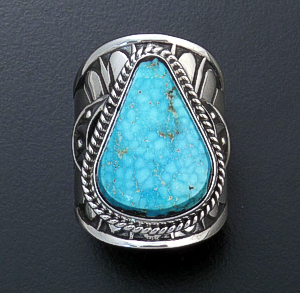 Derrick Gordon (Navajo) - Teardrop Turquoise & Sterling Silver Stamped Cigar Band Ring #43823 Size 7 $270.00