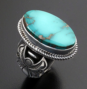 Albert Jake (Navajo) - Oval Royston Turquoise & Sterling Silver Angel Shield Ring #43827 Size 9 $300.00