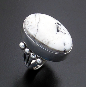 Paul Livingston (Navajo) - Oval White Buffalo Turquoise & Sterling Silver Beaded Ring #43881 Size 5 $275.00