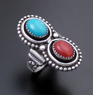 Roie Jaque (Navajo) - Turquoise & Coral Beaded Double Oval Sterling Silver Ring #43912 Size 8 $165.00