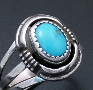 Navajo - Turquoise & Sterling Silver Oval Cut & File Ring #43915 $135.00