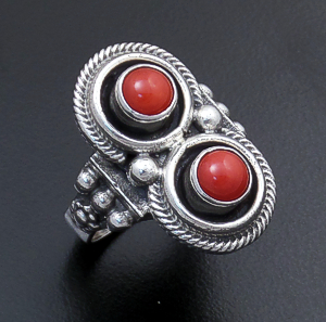 Roie Jaque (Navajo) - Double Round Apple Coral & Sterling Silver Bead Accented Ring #43922 Size 8 $120.00