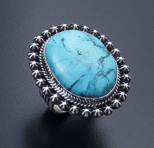 Happy Piasso (Navajo) - Oval Ithaca Peak Turquoise & Sterling Silver Button Accented Ring #44202 Size 8.5 $375.00