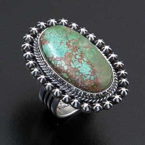 Happy Piasso (Navajo) - Oval Royston Turquoise & Sterling Silver Button Border Ring #44205 Size 7 $295.00