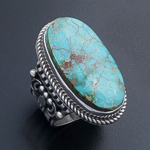 Albert Jake (Navajo) - Oval Turquoise & Ornate Stamped Sterling Silver Ring #44412 Size 11 $520.00
