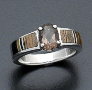 Supersmith Inc. - David Rosales Designs - Native Earth Oval Smoky Quartz, Inlay & Sterling Silver Ring #5677 Style R128G $235.00