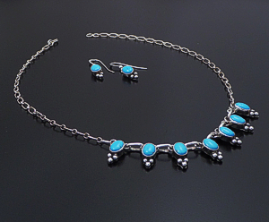 "Navajo - 16"" Sleeping Beauty Turquoise & Sterling Silver Beaded Oval Necklace & Earrings Set #14391 $275.00"