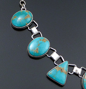 "Navajo - 23"" Turquoise Oval & Triangle Sterling Silver Necklace & Earrings Set #14393 $575.00"