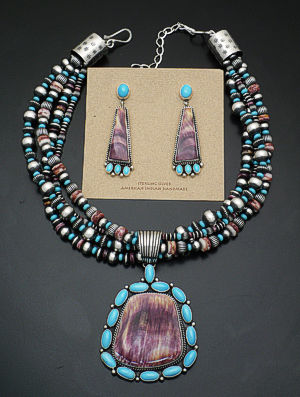 LaRose Ganadonegro - Spiny Oyster Shell & Turquoise Sterling Silver Necklace/Earring Set #38292 $1,890.00