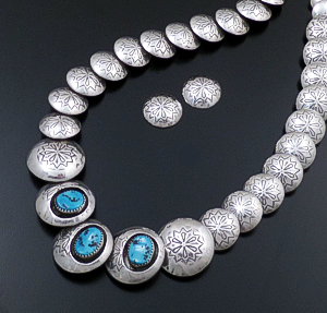 "Navajo - 20"" to 24"" Turquoise Accented Stamped  Sterling Silver Graduated Disk Necklace & Earrings Set #42502 $525.00"