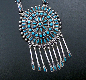 "Merlinda & D. Chavez (Zuni) - 23"" Turquoise Needlepoint & Petit Point Cluster Sterling Silver Necklace & Earring Set #42887 #4 $2,100.00"