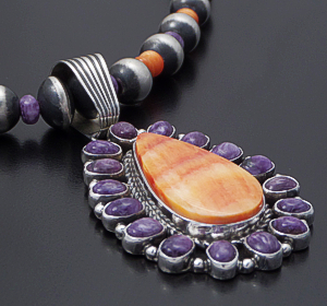 "Geneva Apachito & Marilyn Platero (Navajo) - 20"" Charoite, Orange Shell, & Sterling Silver Burnished Bead Necklace, Pendant, & Earrings Set #43058 $675.00"