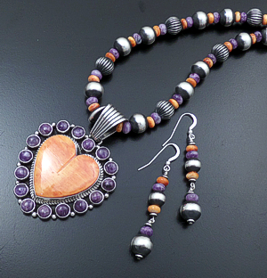 "Geneva Apachito & Marilyn Platero (Navajo) - 18"" Orange Shell, Charoite, & Burnished Sterling Silver Heart Necklace, Pendant, and Earrings Set #43059 $675.00"