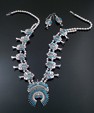 "Bernie Wyaco (Zuni) - 25"" Turquoise & Sterling Silver Needlepoint Squash Blossom Necklace & Earrings Set #43122 Item 8 $960.00"