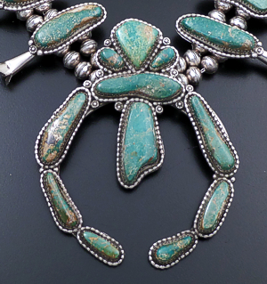 "Harvey Begay (Navajo) - 25"" Green Manassa Turquoise & Sterling Silver Squash Blossom Necklace & Earrings Set #43424 Item 6 $2,280.00"