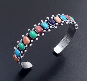 c738d9a237f ... Allan Ness (Navajo) - Fifteen Stone Multistone & Sterling Silver Beaded  Cuff Bracelet #